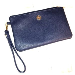 Navy blue clutch w/power charger and gold details